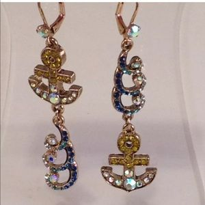 Betsey Johnson Pave Anchor & Wave Earrings